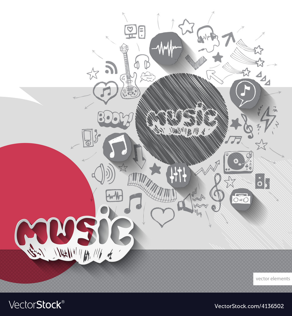 Hand drawn music notice icons with icons vector | Price: 1 Credit (USD $1)