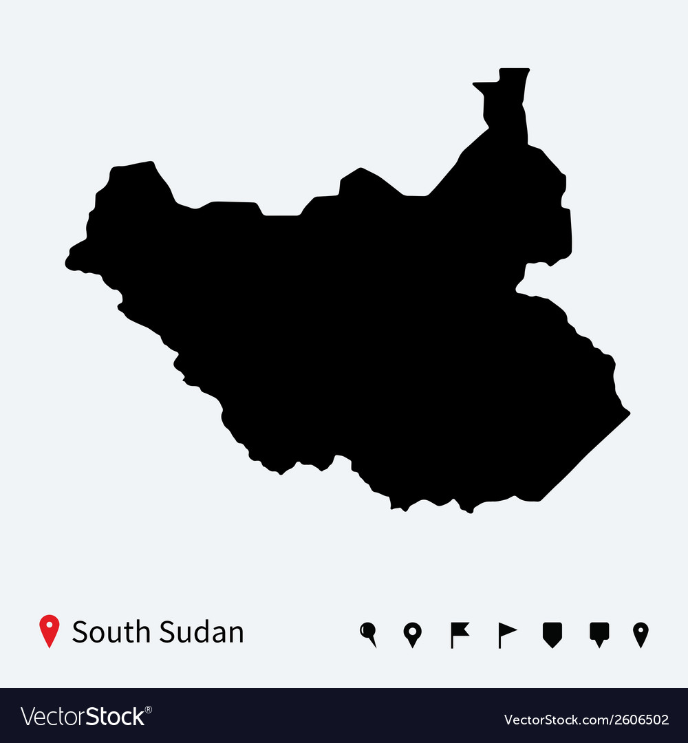 High detailed map of south sudan with navigation vector | Price: 1 Credit (USD $1)