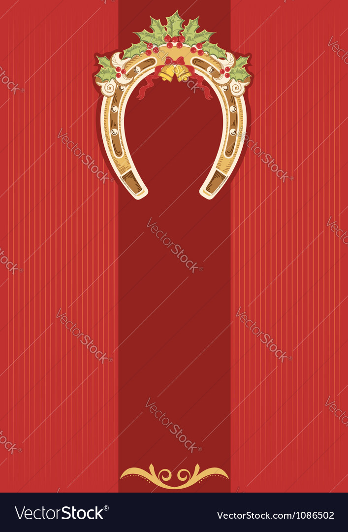 Horseshoe with holly berry on red vector | Price: 1 Credit (USD $1)