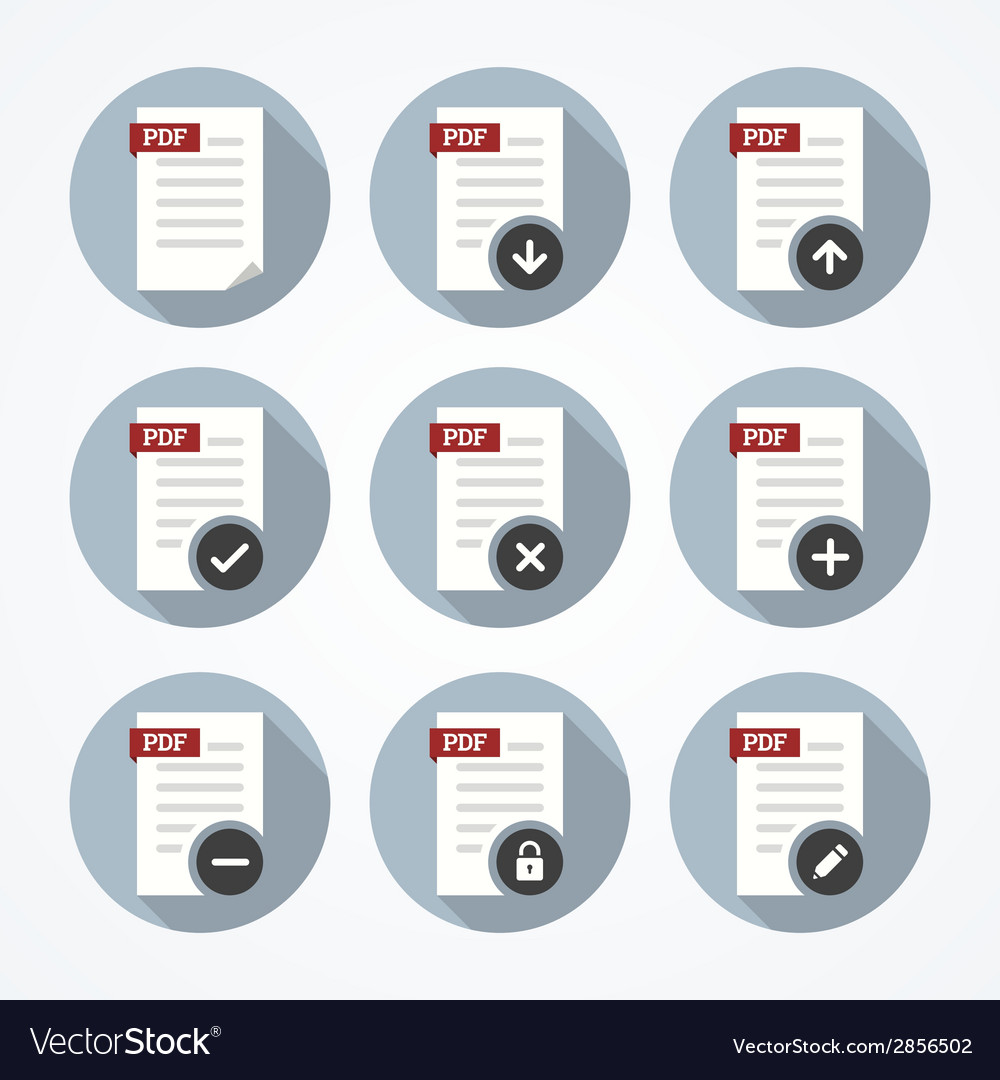 Pdf documents icons set vector | Price: 1 Credit (USD $1)