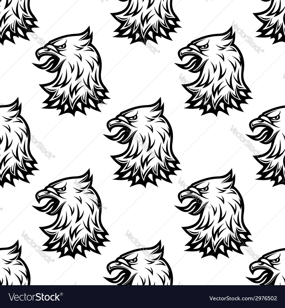 Stylized black eagle seamless pattern vector | Price: 1 Credit (USD $1)