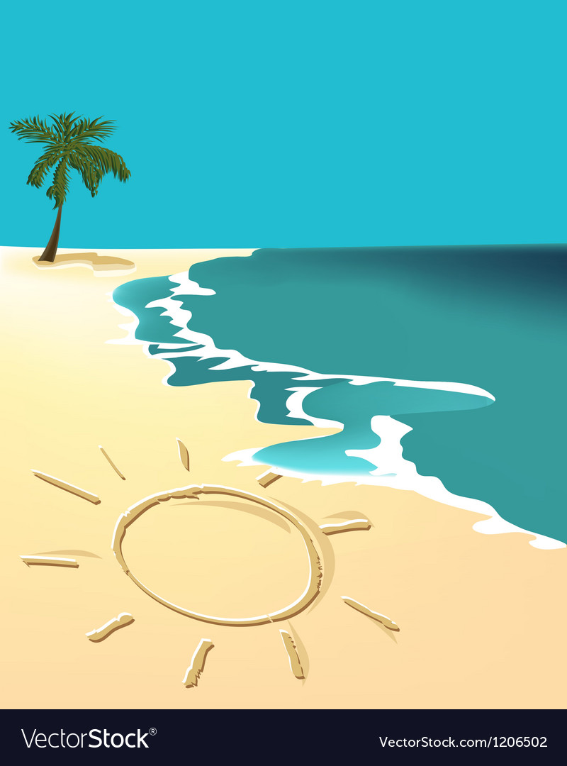 Sunny holiday beach vector | Price: 1 Credit (USD $1)