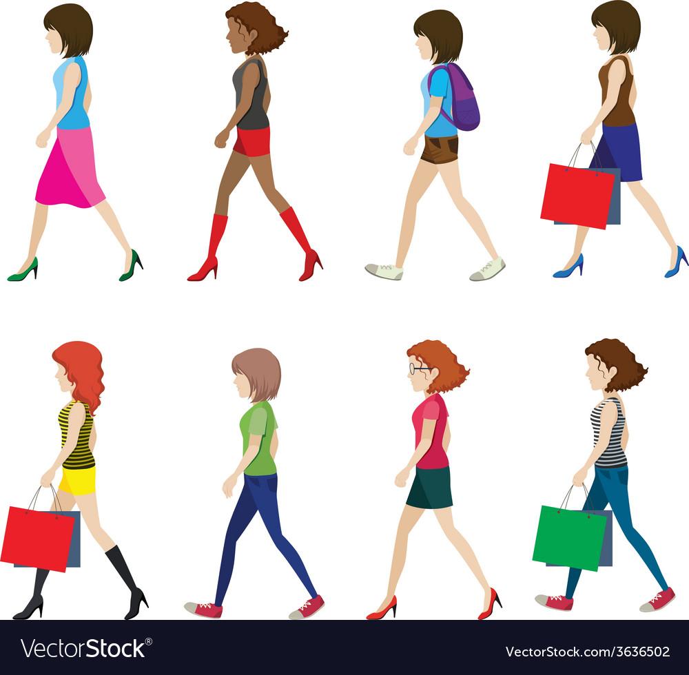 Woman walking vector   Price: 1 Credit (USD $1)