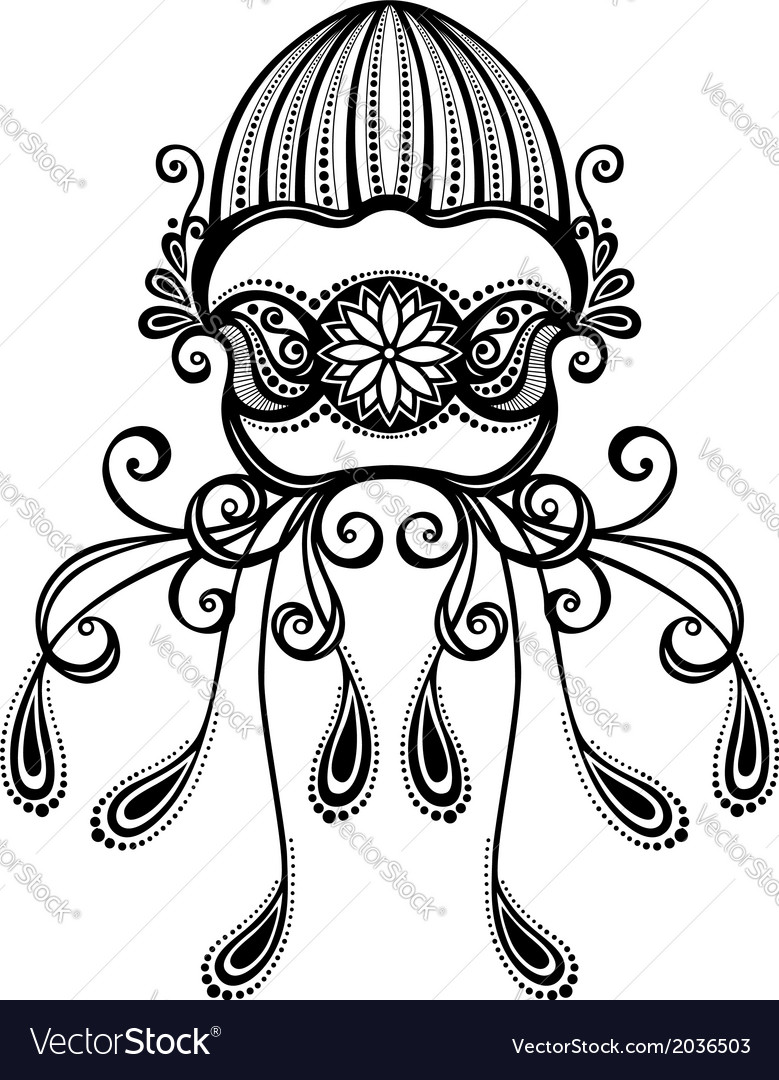 Abstract sea jellyfish vector | Price: 1 Credit (USD $1)