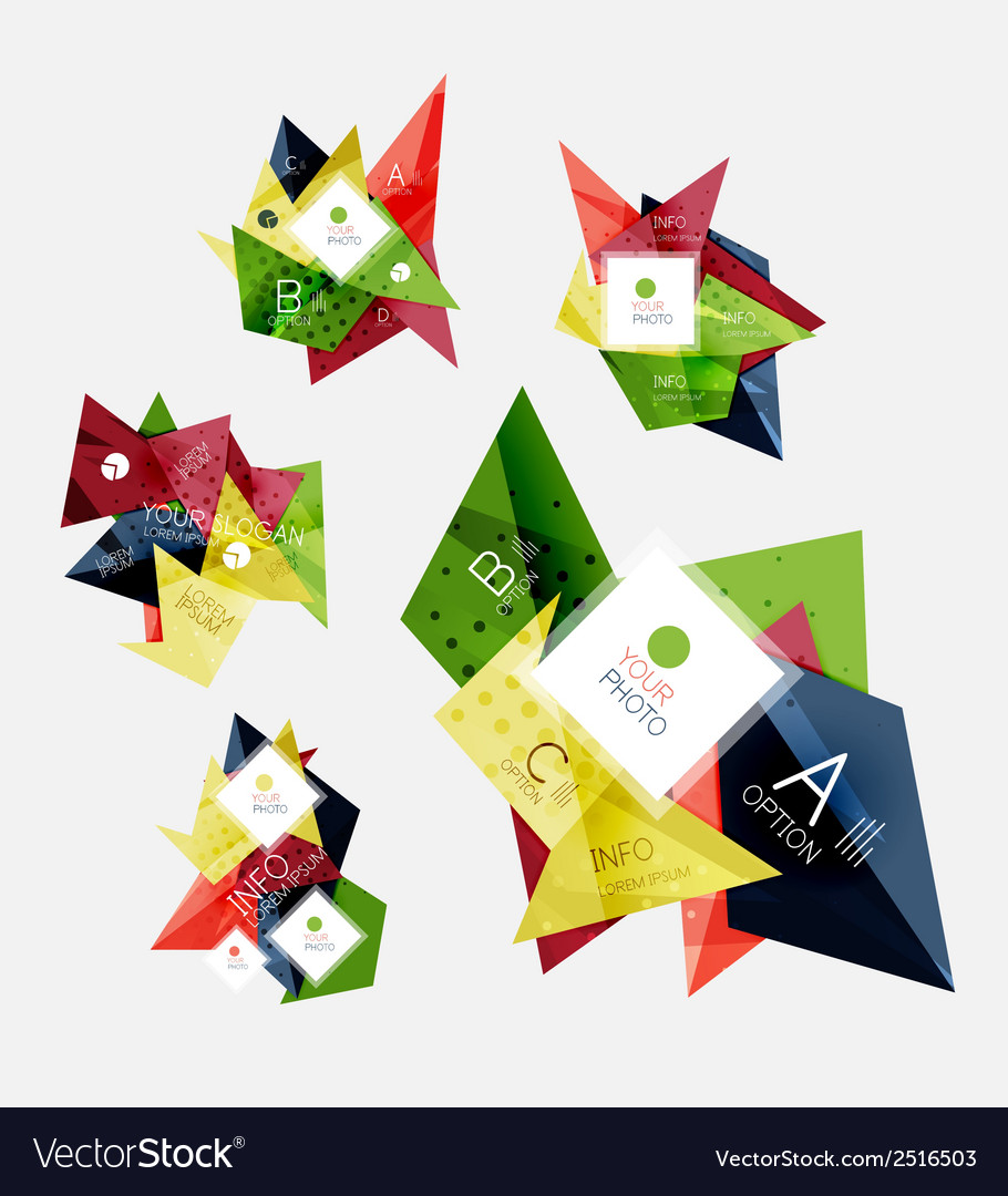 Collection of triangle infographic layouts vector