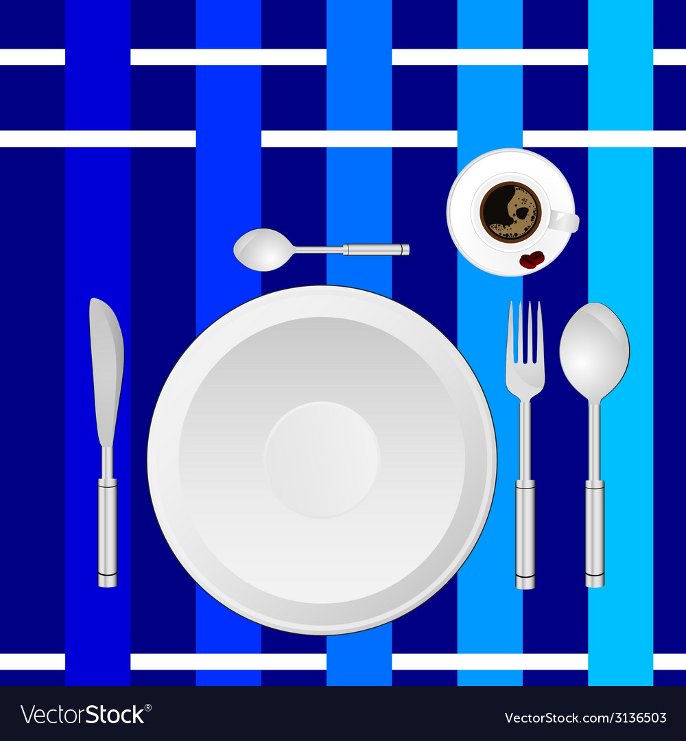 Dinner service on a blue tablecloth vector | Price: 1 Credit (USD $1)