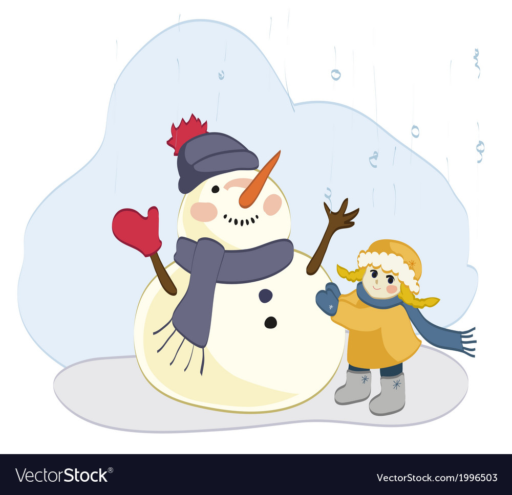 Girl and snowman vector | Price: 1 Credit (USD $1)
