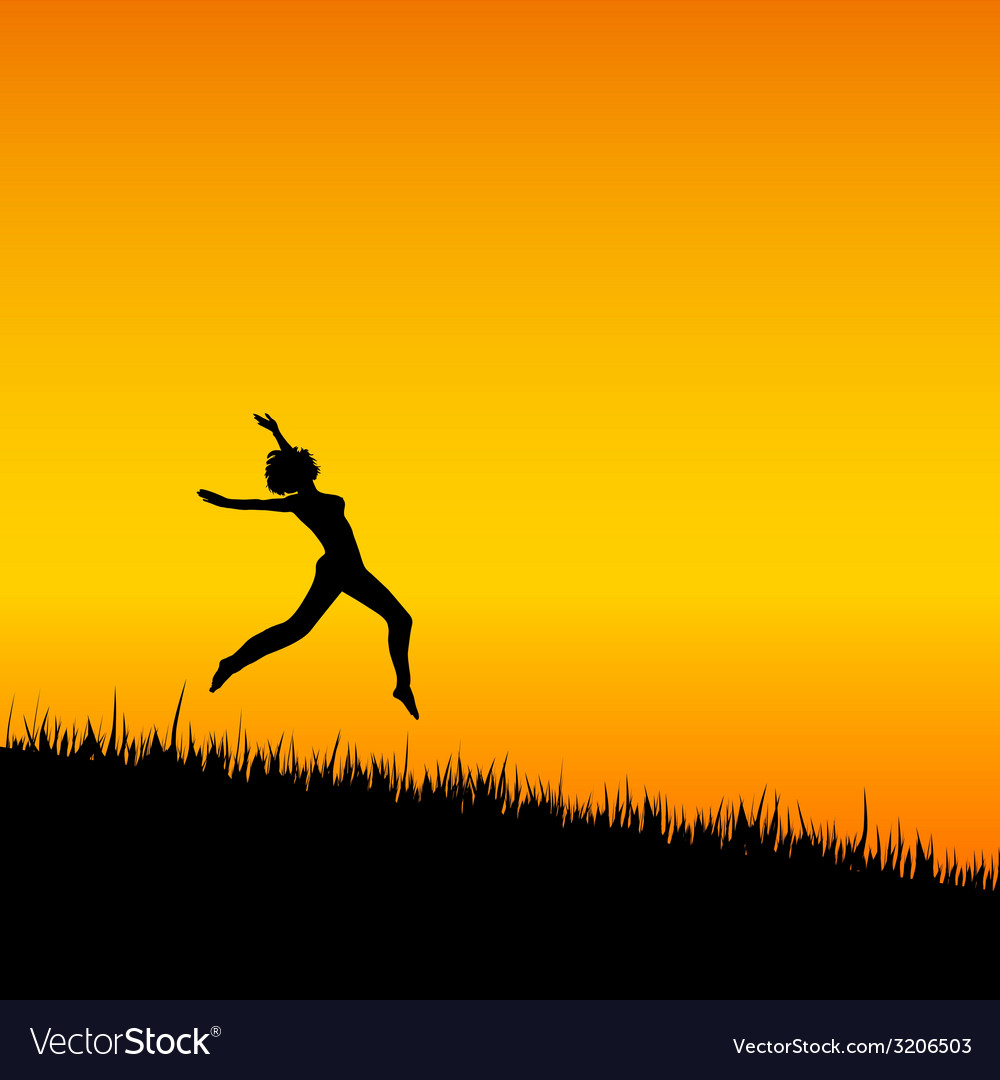 Girl black silhouette jumping vector | Price: 1 Credit (USD $1)