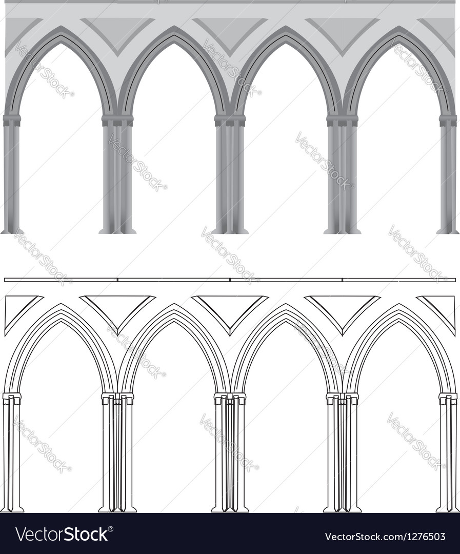 Gothic arch and column vector | Price: 1 Credit (USD $1)