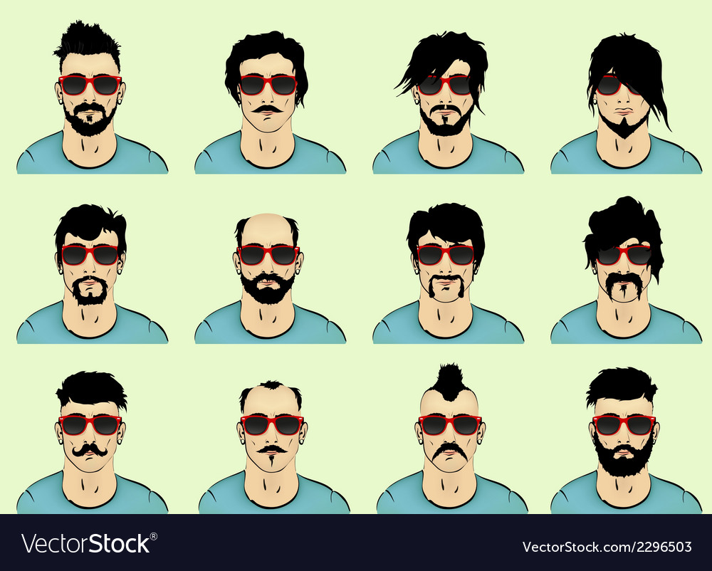Hair beard and mustache vector | Price: 1 Credit (USD $1)