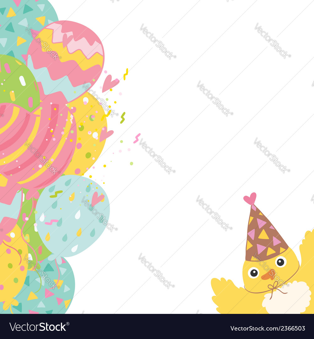 Happy birthday background with balloons and bird vector | Price: 1 Credit (USD $1)