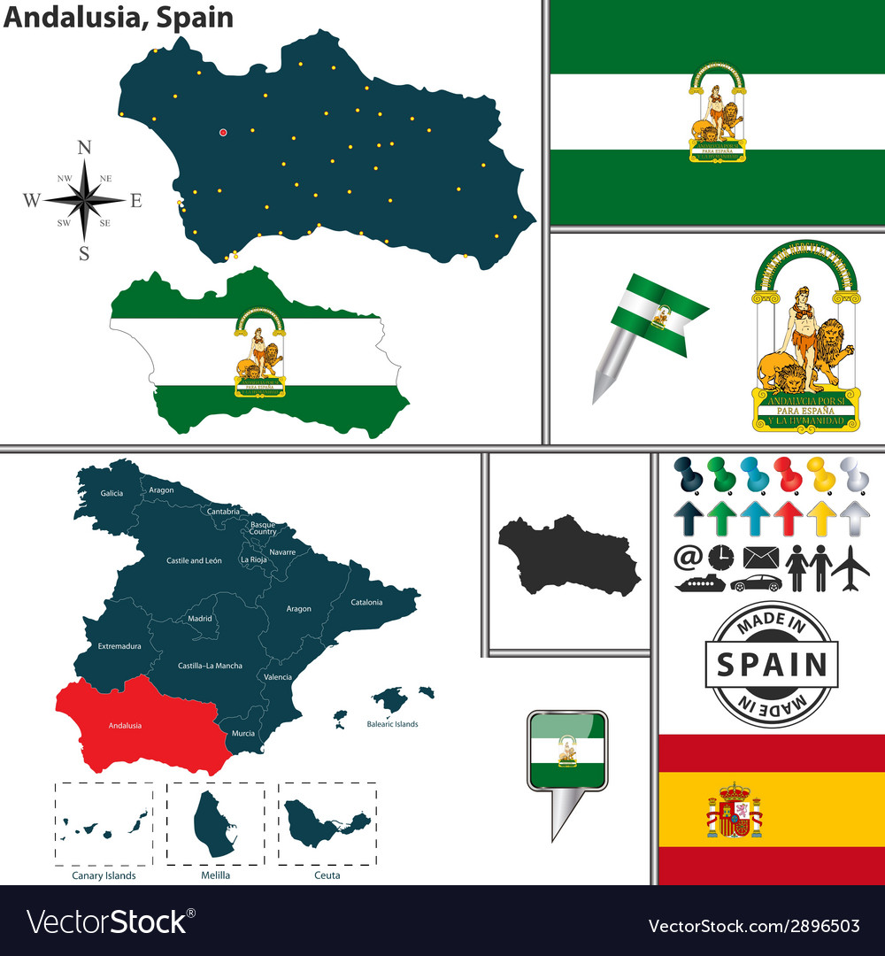 Map of andalusia vector | Price: 1 Credit (USD $1)