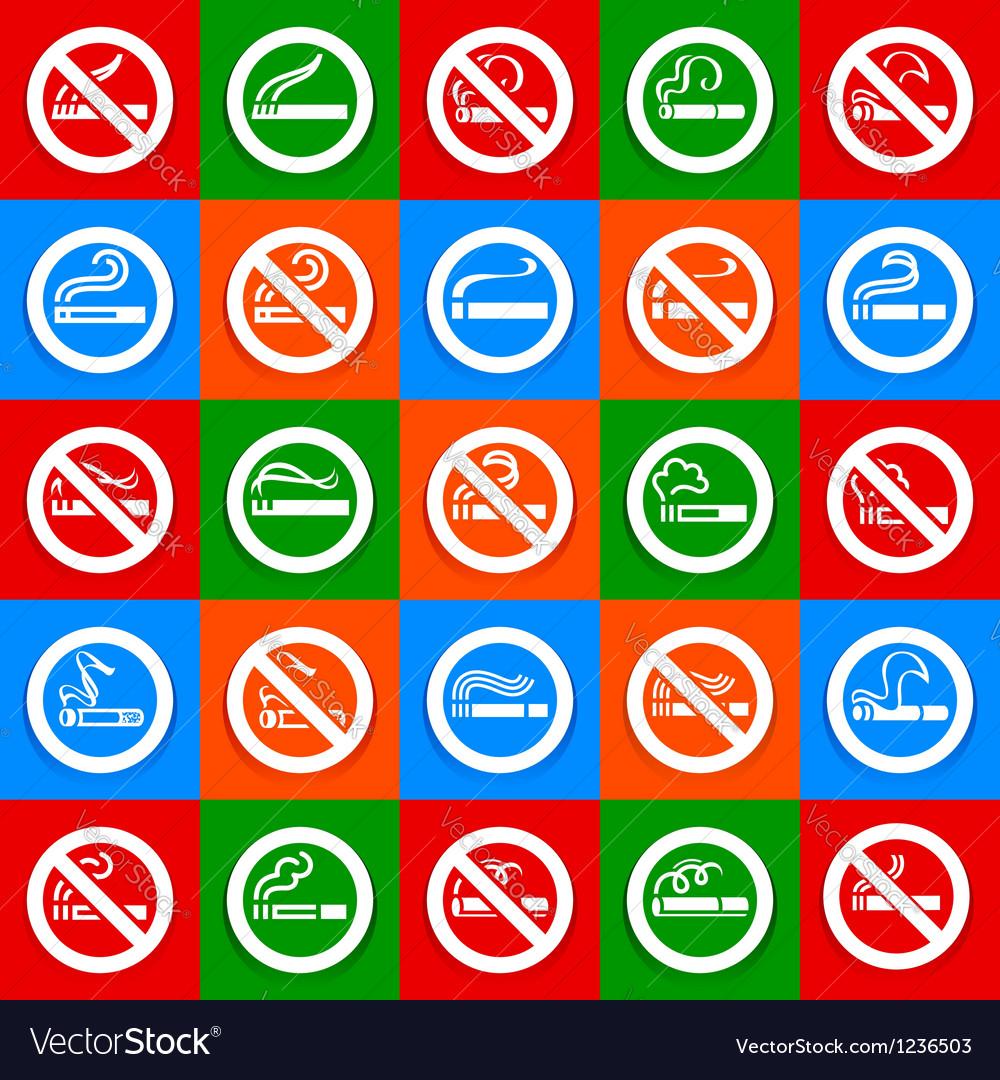 No smoking and smoking area - big set stickers vector | Price: 1 Credit (USD $1)