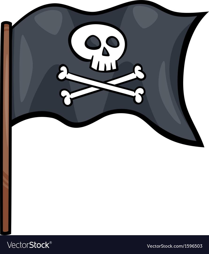 Pirate flag cartoon clip art vector | Price: 1 Credit (USD $1)