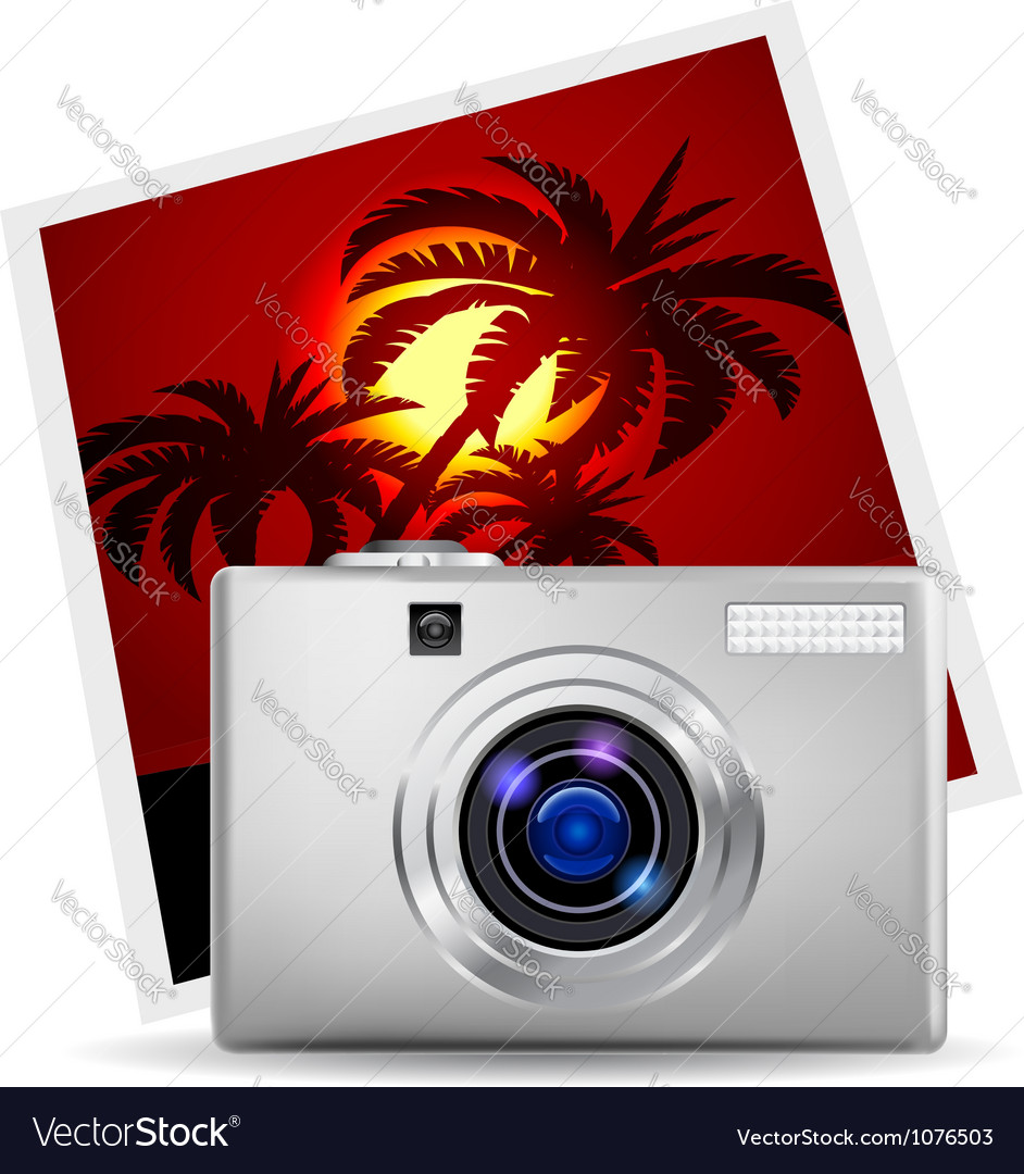 Realistic digital camera vector | Price: 3 Credit (USD $3)