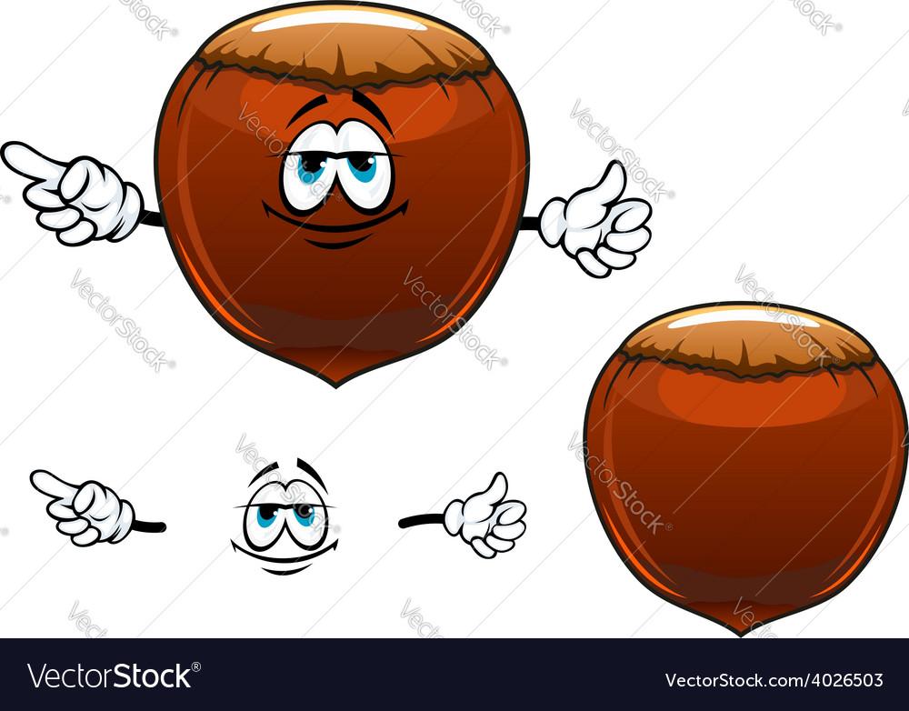 Smiling hazelnut fruit cartoon character vector | Price: 1 Credit (USD $1)