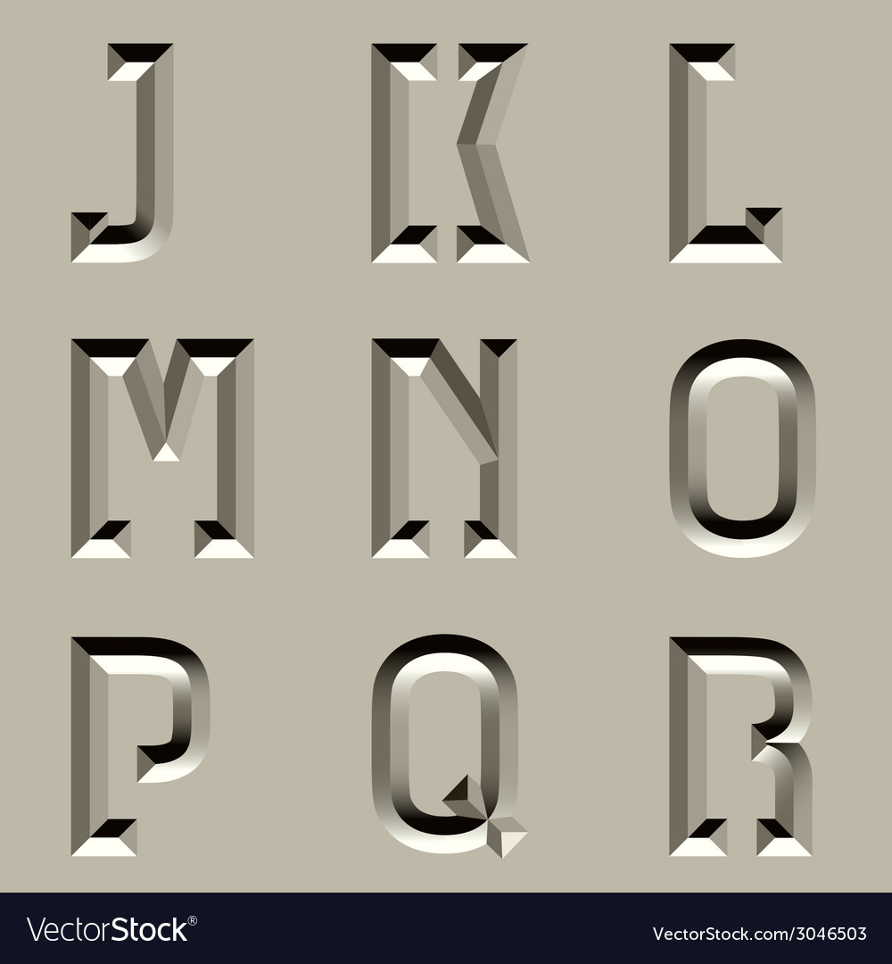 Stone carved alphabet font - part 2 vector | Price: 1 Credit (USD $1)