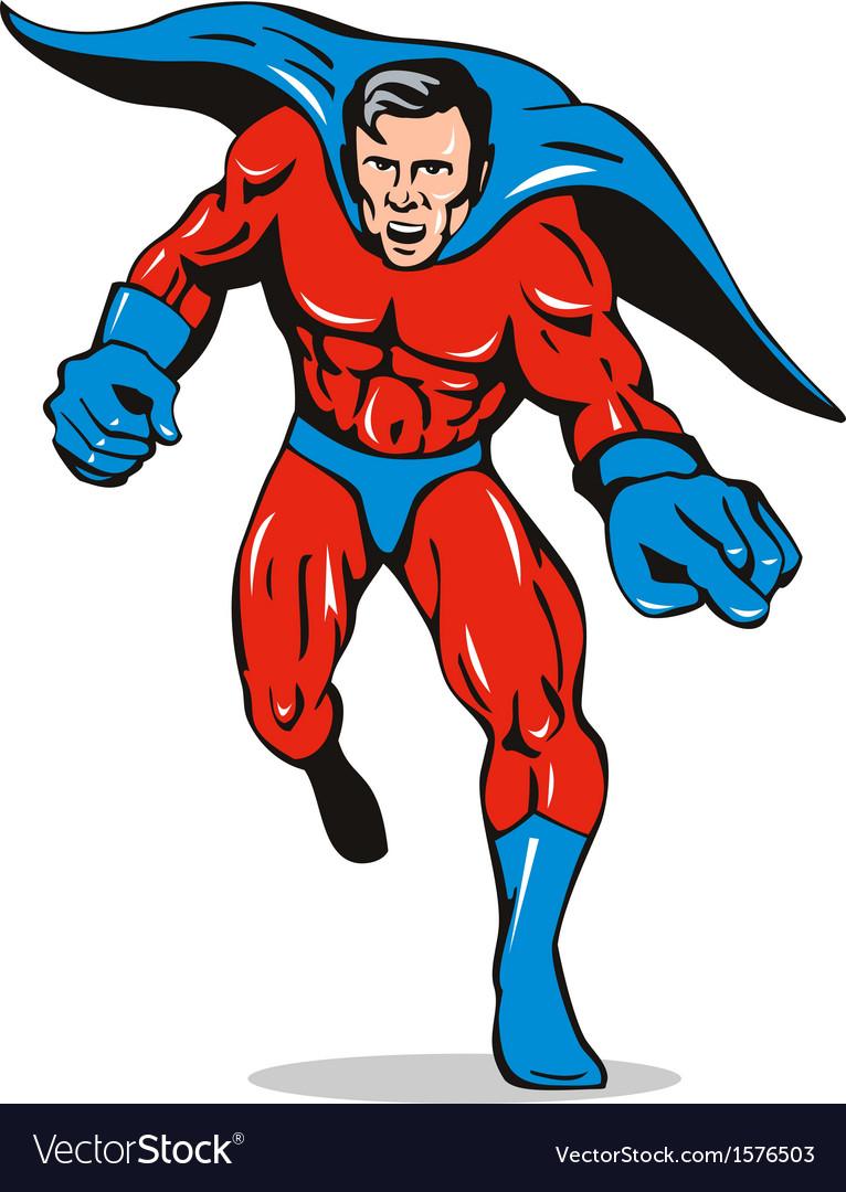 Super hero running pointing retro vector   Price: 1 Credit (USD $1)