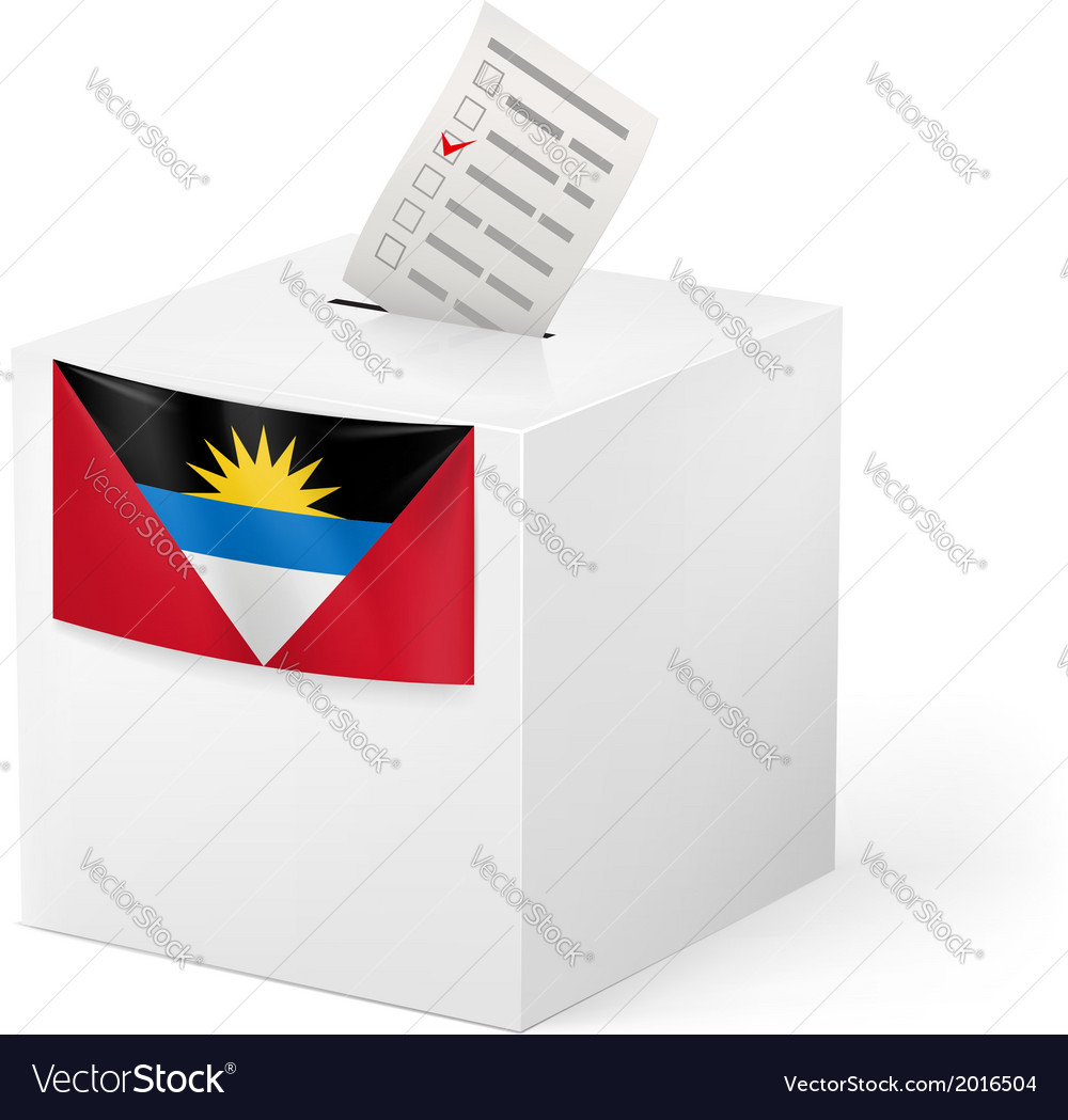 Ballot box with voting paper antigua and barbuda vector | Price: 1 Credit (USD $1)