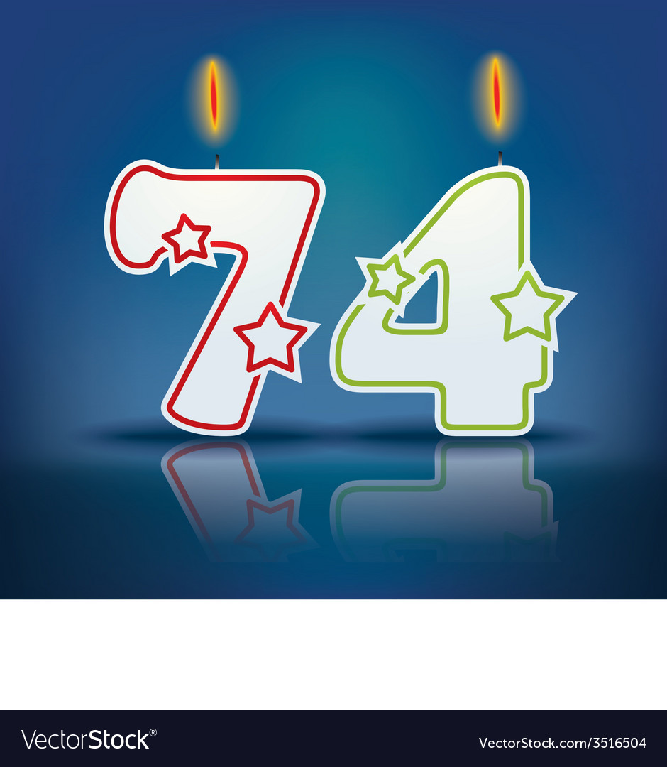Birthday candle number 74 vector | Price: 1 Credit (USD $1)