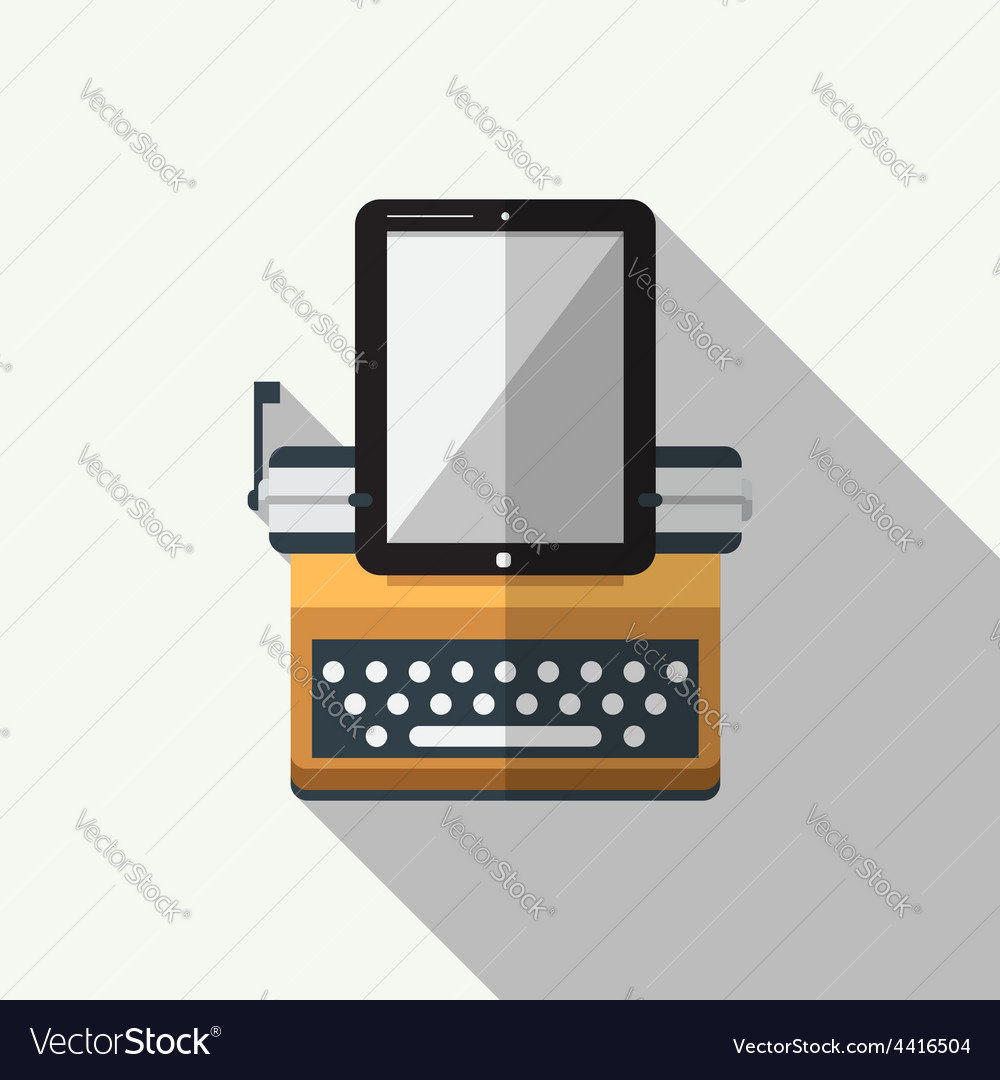 Flat icon of typewriter combine tablet vector | Price: 1 Credit (USD $1)