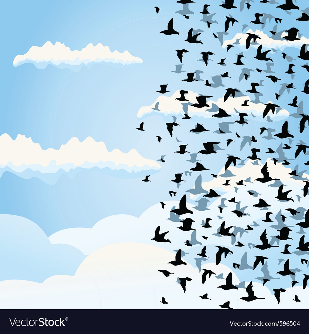 Flight of birds vector | Price: 1 Credit (USD $1)
