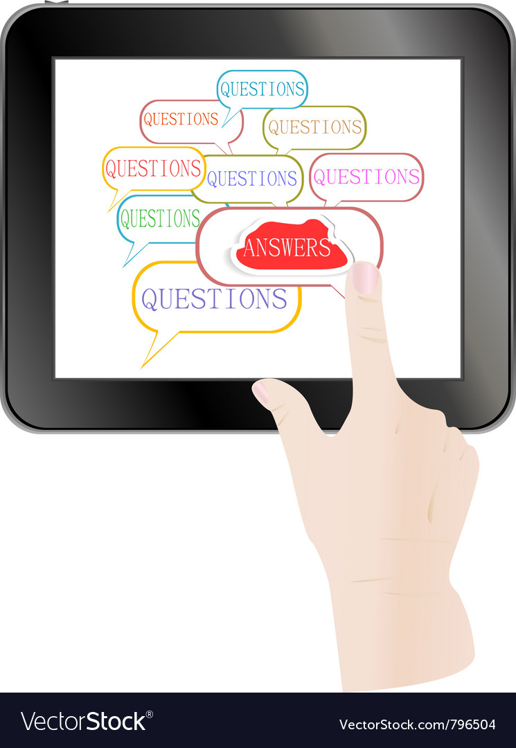 Hand check answer on touch screen vector | Price: 1 Credit (USD $1)