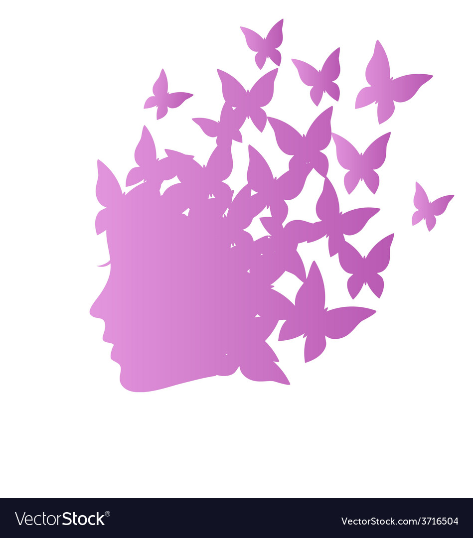 Icon with beauty woman profile with butterflies on vector | Price: 1 Credit (USD $1)