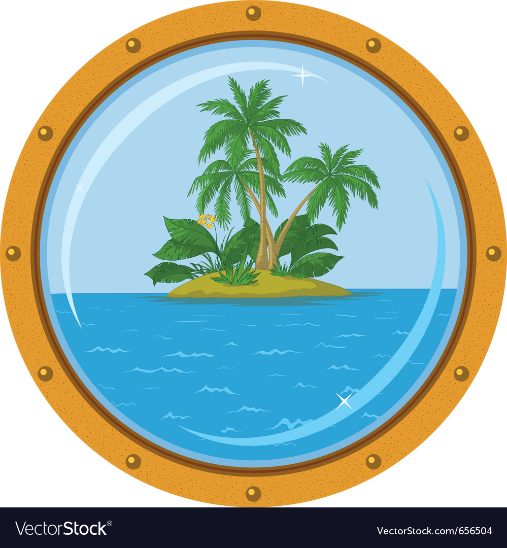 Island with palm and bronze ship window vector | Price: 1 Credit (USD $1)