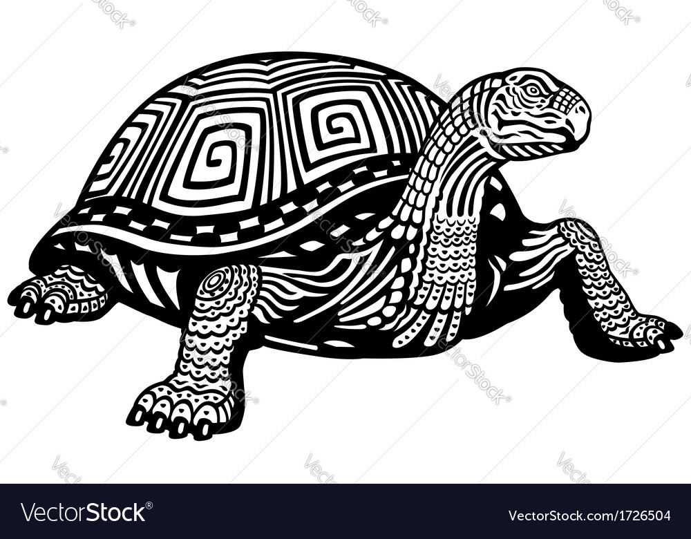 Turtle black white vector | Price: 1 Credit (USD $1)