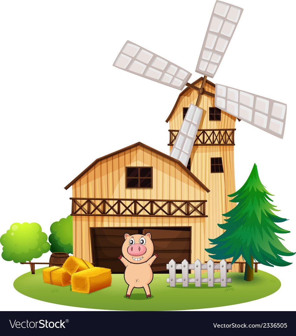 A playful pig outside the wooden barnhouse with a vector | Price: 3 Credit (USD $3)