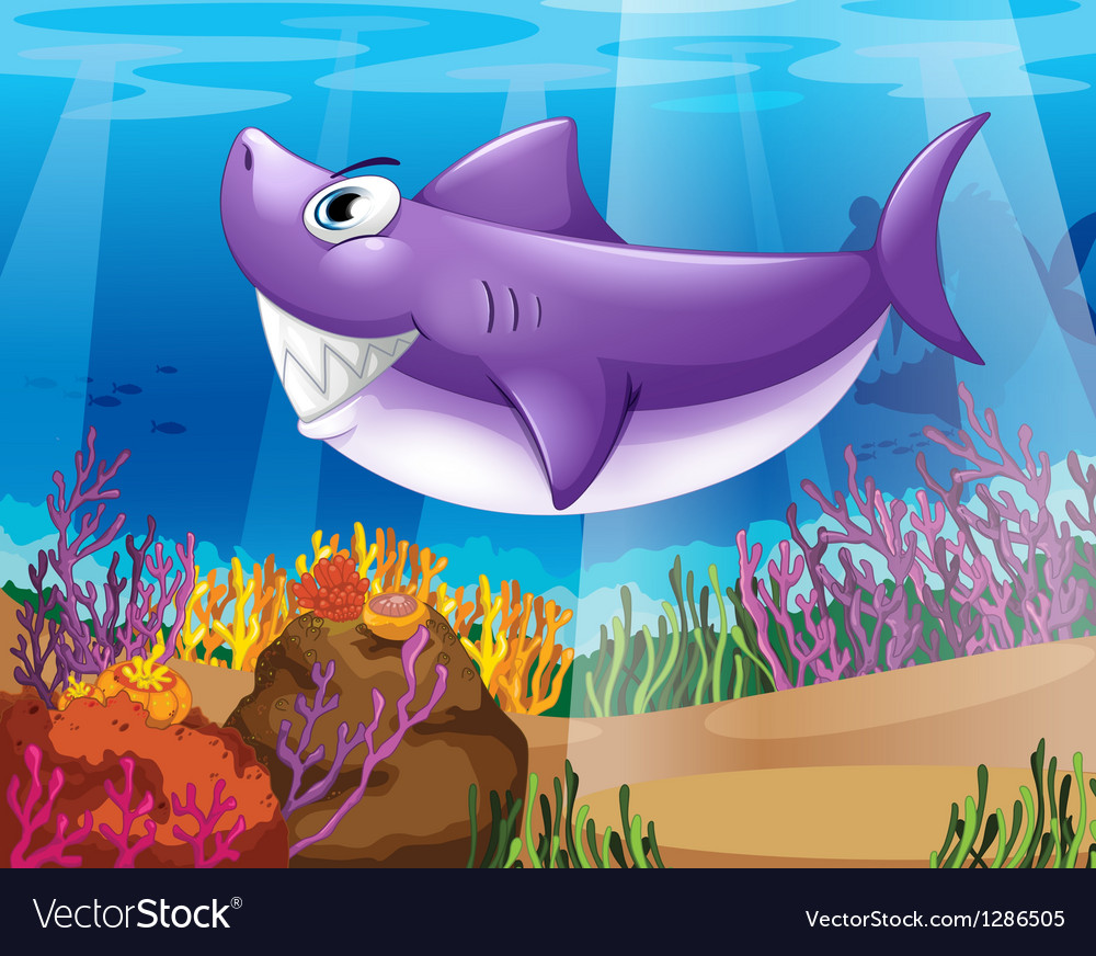A shark smiling at the bottom of the sea vector | Price: 1 Credit (USD $1)