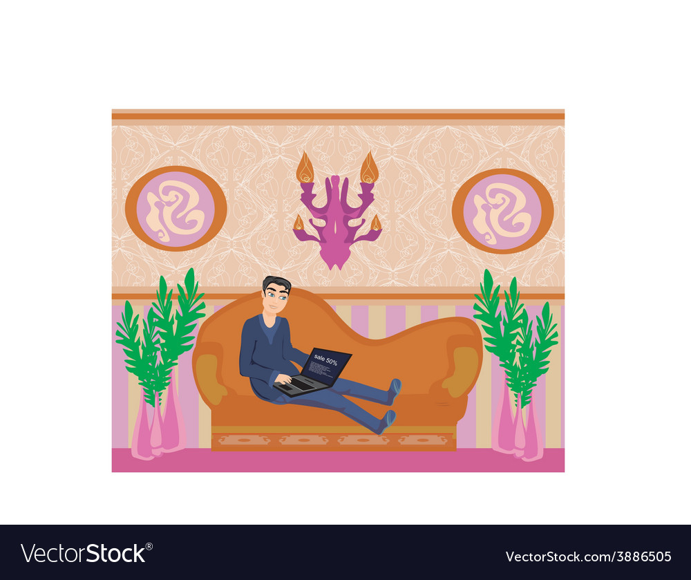 Boy with a laptop lies on the sofa vector | Price: 1 Credit (USD $1)