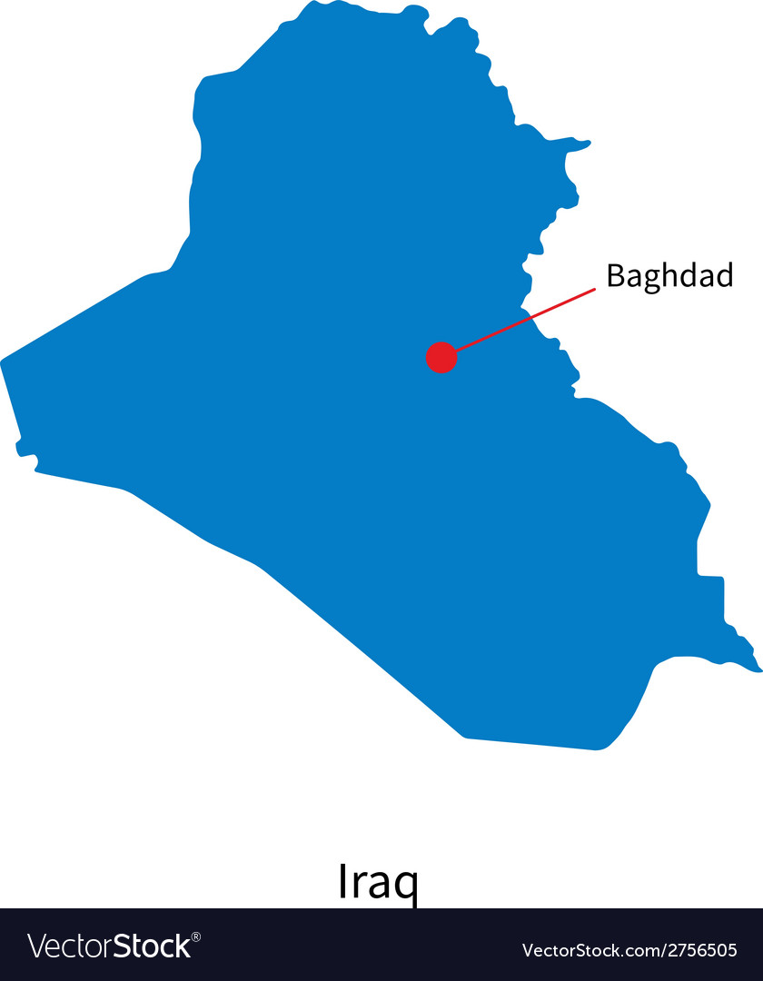 Detailed map of iraq and capital city baghdad vector | Price: 1 Credit (USD $1)