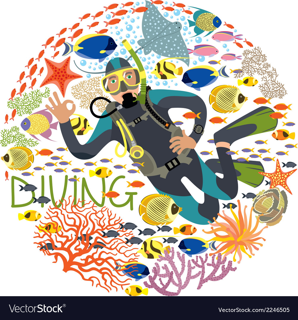 Diver with underwater plants and tropical fishes vector | Price: 1 Credit (USD $1)