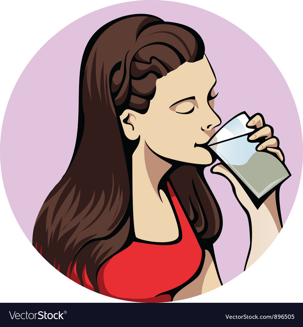 Drinking woman vector | Price: 1 Credit (USD $1)