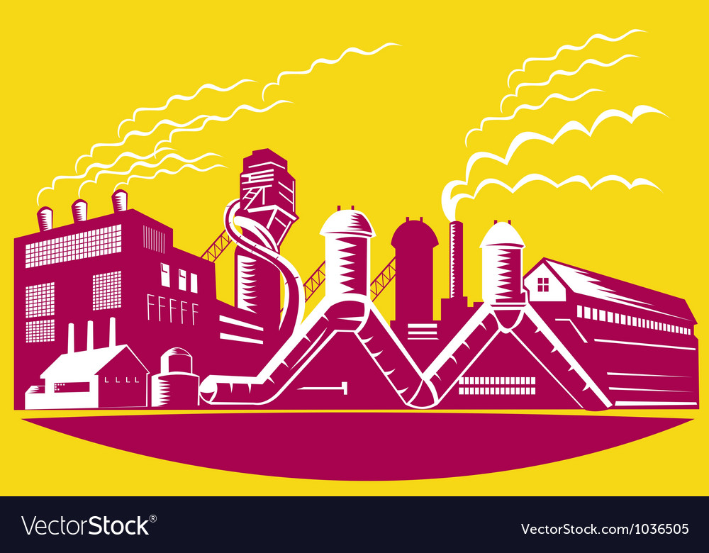 Factory building power plant retro vector | Price: 1 Credit (USD $1)