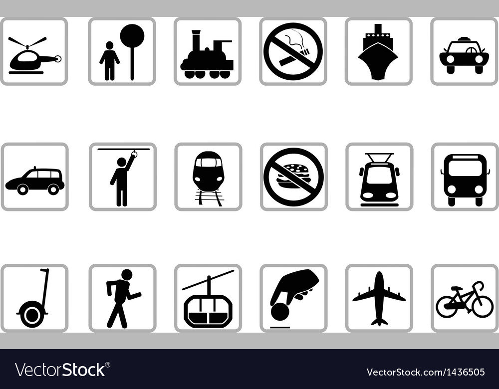 Public transportation buttons vector | Price: 1 Credit (USD $1)
