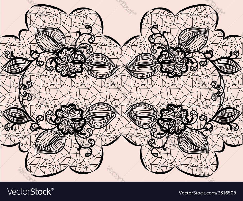 Seamless black lace ribbon with floral elements vector | Price: 1 Credit (USD $1)