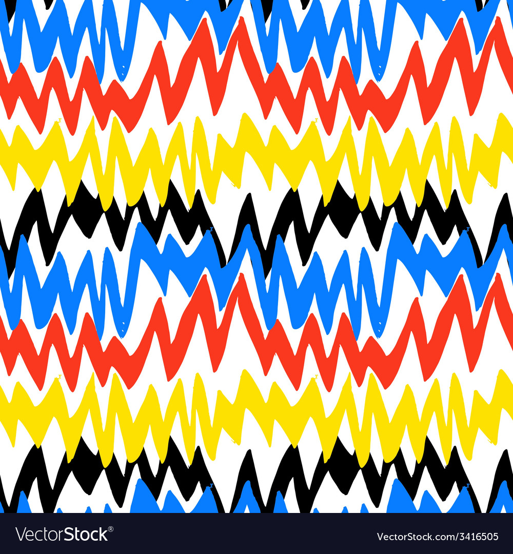 Striped hand drawn pattern with zigzag lines vector | Price: 1 Credit (USD $1)