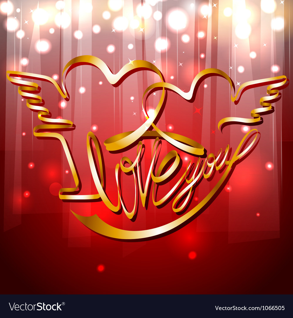 Valentines day band - i love you on the red shiny vector | Price: 1 Credit (USD $1)