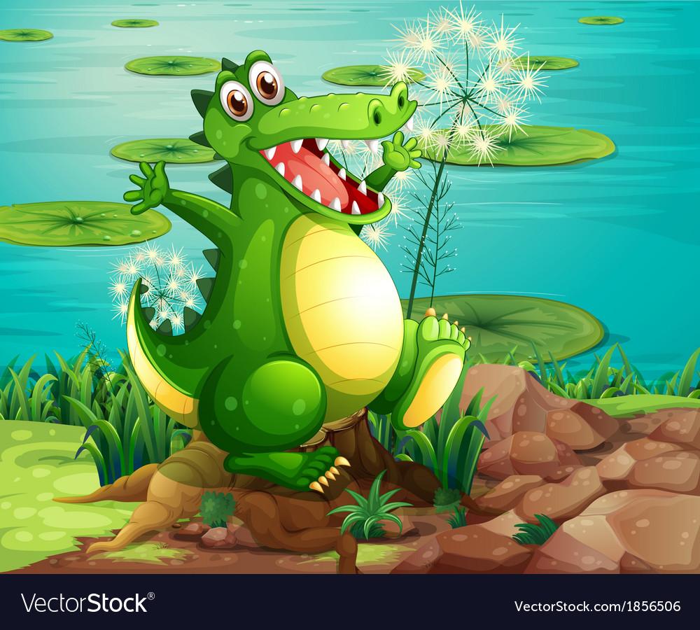 A crocodile above the stump near the pond vector