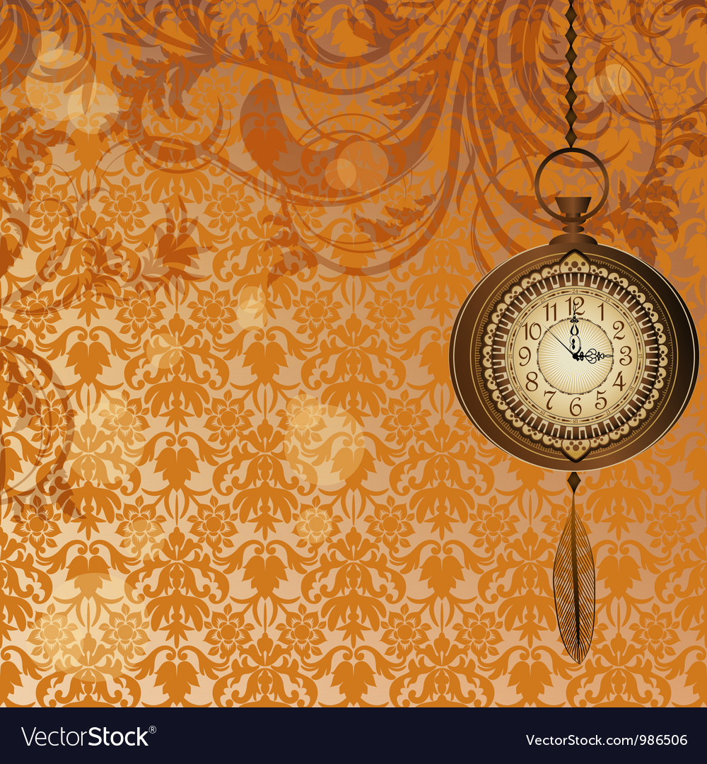 Abstract wallpaper with bronze pocket watch vector | Price: 1 Credit (USD $1)