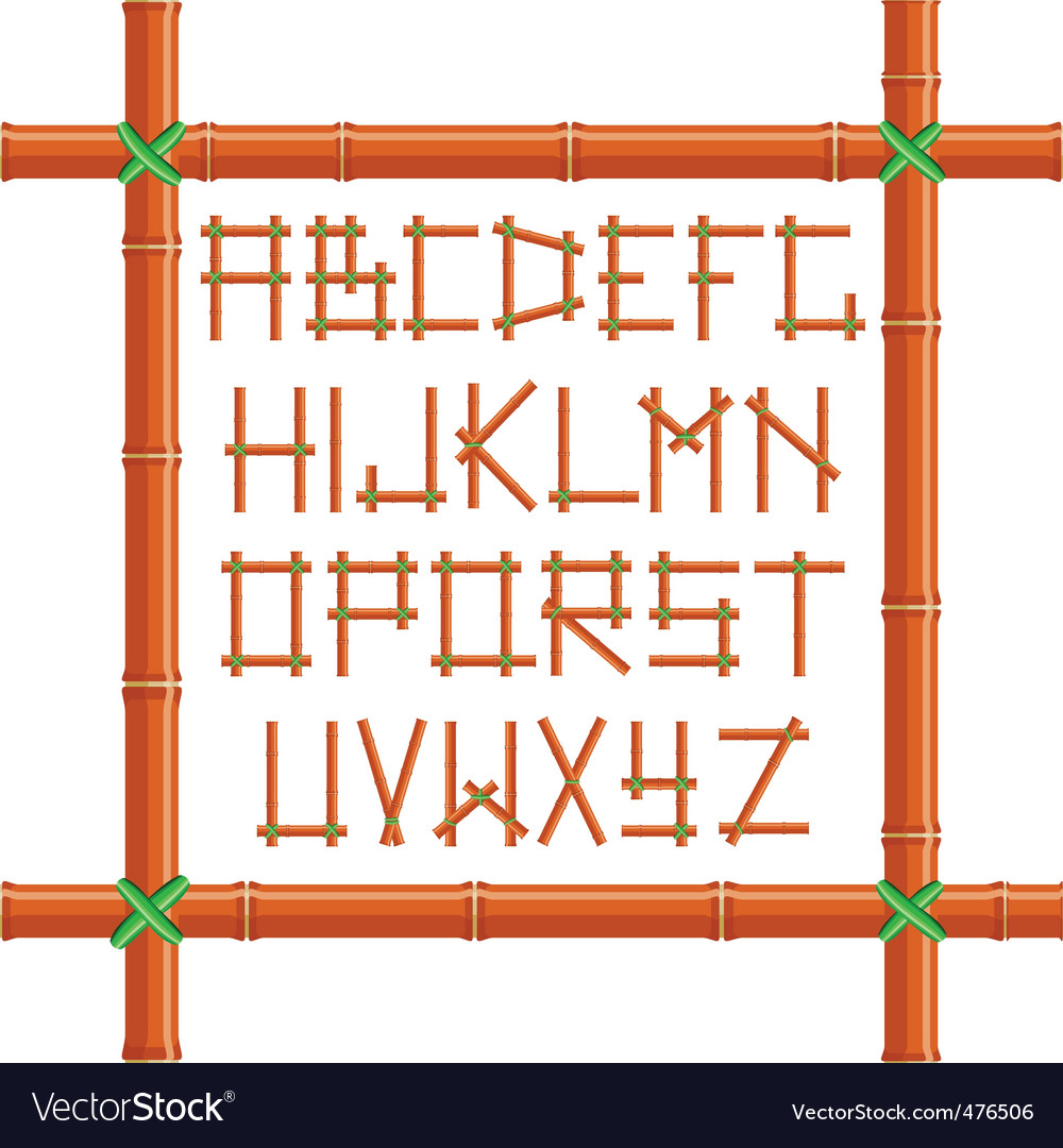 Bamboo alphabet vector | Price: 1 Credit (USD $1)