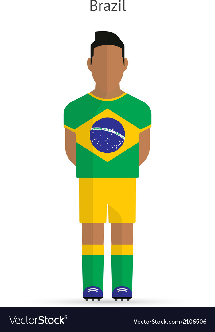Brazil football player soccer uniform vector | Price: 1 Credit (USD $1)