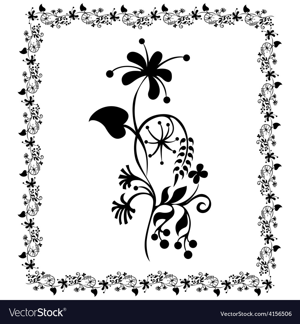 Flower pattern frame floral vector | Price: 1 Credit (USD $1)