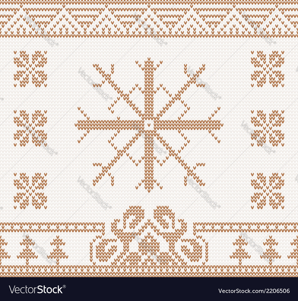 Knitted pattern with snowflake vector | Price: 1 Credit (USD $1)