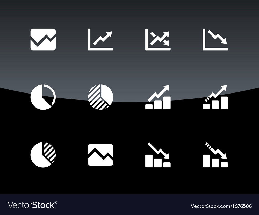 Line chart and diagram icons on black background vector | Price: 1 Credit (USD $1)