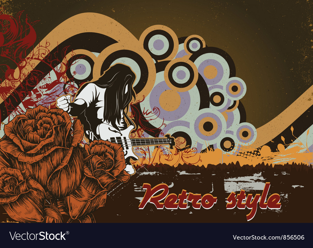 Music poster with rock star and roses vector | Price: 1 Credit (USD $1)
