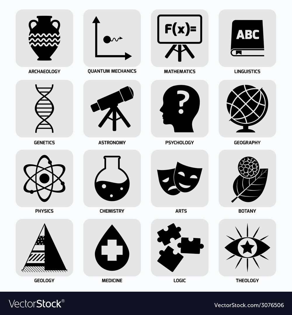 Science areas icons black vector | Price: 1 Credit (USD $1)